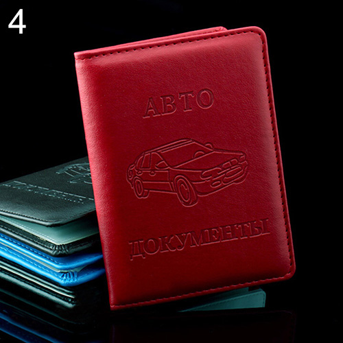 Russian Faux Leather Case Cover for Car Driver's License ID Card Holder Wallet BV4I