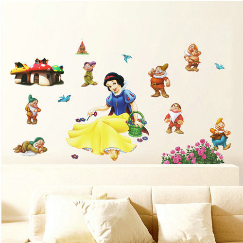 LM1006 New Free Shipping Popular Snow white and the seven little dwarfs Wall Sticker Wall Mural Home Decor Room Kids(China (Mainland))