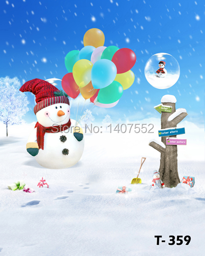 free shipping 5ftx7ft 200CM*150CM backgrounds studio photography Christmas Snowman winter snow white child house fairy tale 001(China (Mainland))