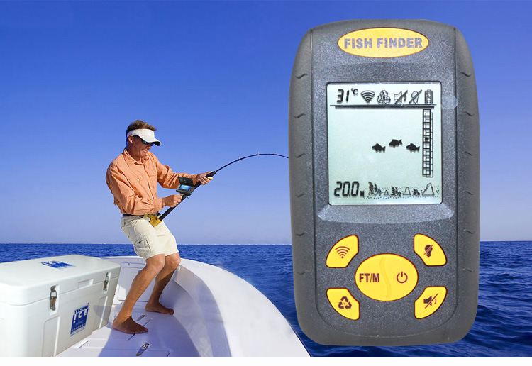1pcs lot portable sonar lcd fish depth finder alarm 100m for Ice fishing fish finders