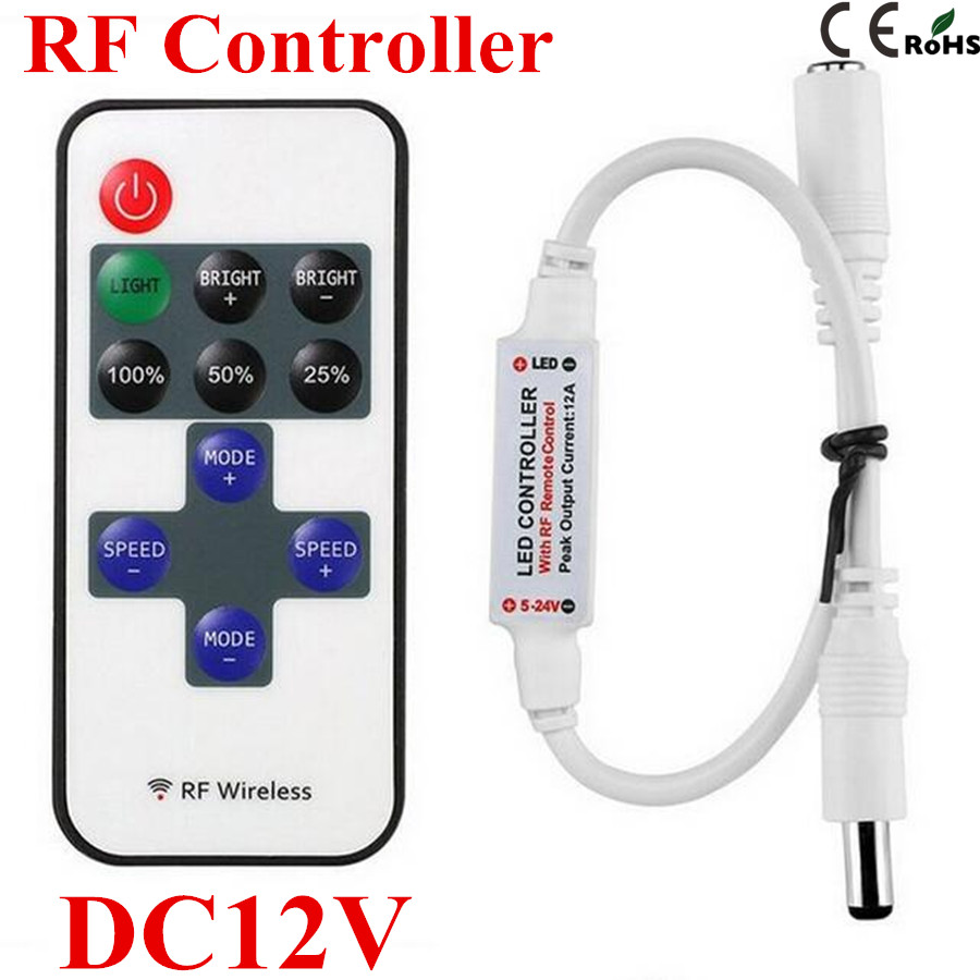 1Pc Mini RF Wireless Led Remote Controller Led Dimmer Controller For Single Color Light Strip SMD5050/3528/5730/5630/3014(China (Mainland))
