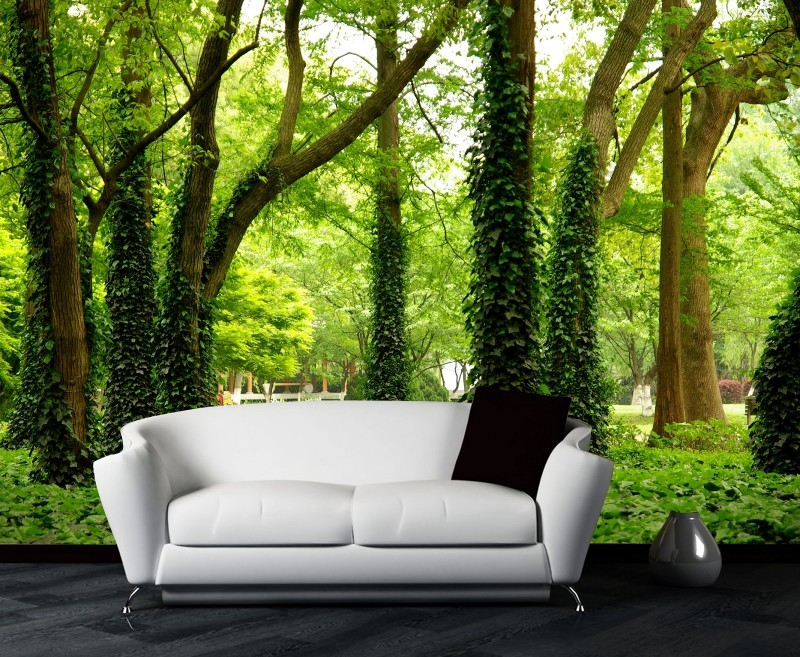 Custom 3d photo luxuriant big green tree grows in the forest design 3d wallpaper 3d mural use for sofa background 3d wall paper(China (Mainland))