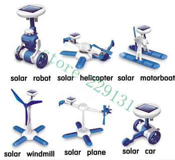 6 in 1 solar toy, educational DIY toy self-assembling, car, plane, helicopter, motorboat, windmill, robot, in 1