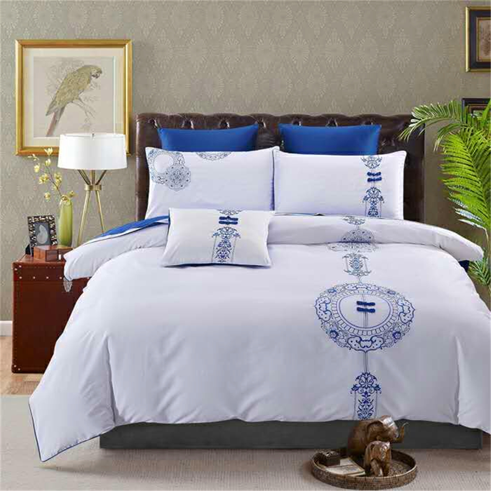 Biody100% luxury embroidery egyptian cotton bedding sets flower bedding set bedspreads on beds with duvet cover sheet(China (Mainland))