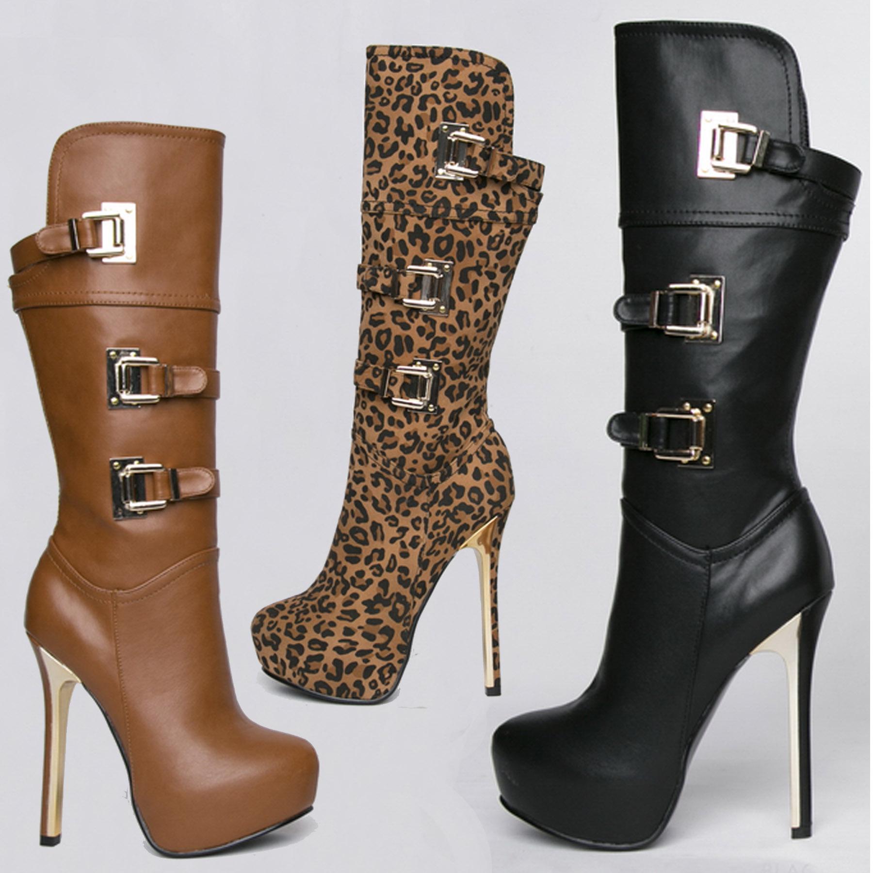 new 2015 womens 14cm platform high heels boots brown
