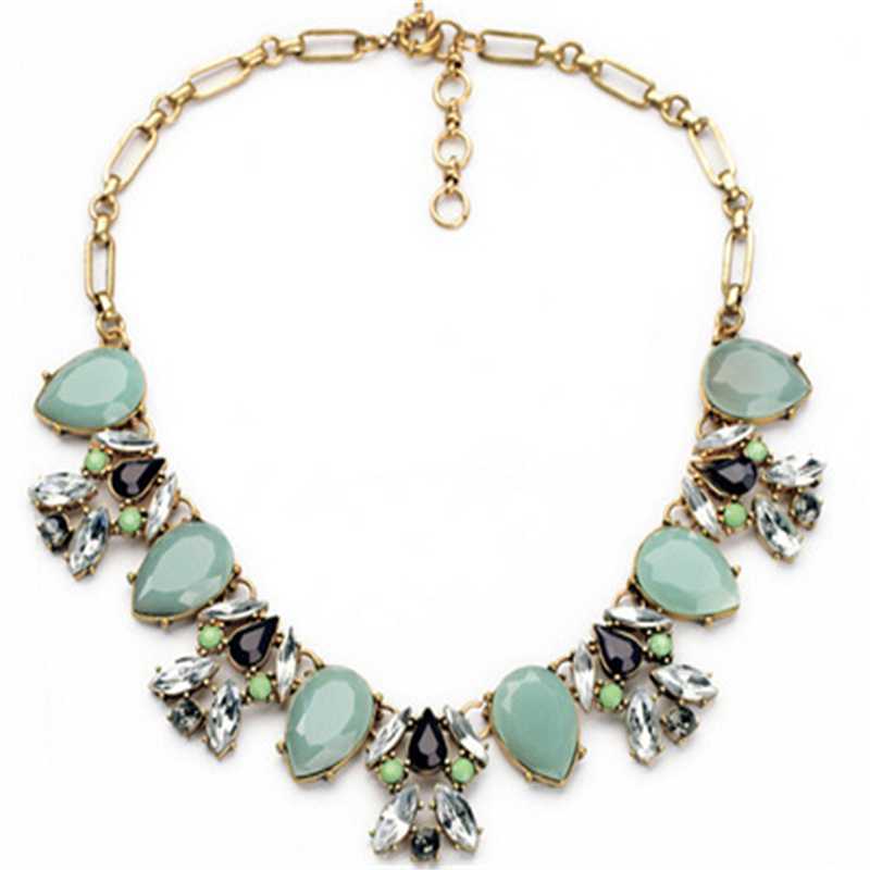 2016 New Women Necklace Fashion Boho Flower Crystal Fine Jewelry Maxi Necklace Choker Chain Statement Necklace Collier Femme(China (Mainland))