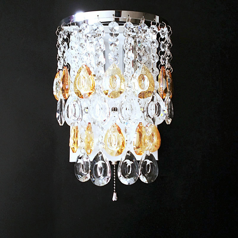 Promotion luxury K9 crystal LED wall lamp cristal sconces bedroom light free shipping-in Wall ...