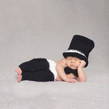 2016 Newborn Baby Photography Props Soft Handmade Crochet Knit Cute Cap And Pants Set Black Color For Baby 0-3 Months