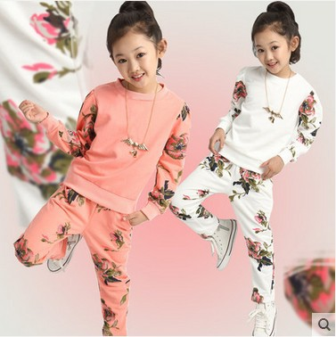 New Brand 2016 Children Spring Fall Clothing Sets Girls Fashion Floral Splicing Sports Suits Kids Sweet Casual Clothes 2 Pcs A45(China (Mainland))