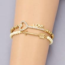 New fashion accessories jewelry bead chain link key love arrow charm bracelet nice gift for women girl B3369(China (Mainland))