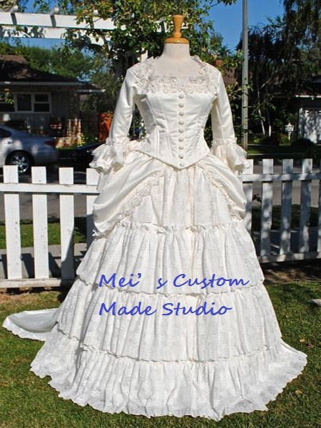 Custom made 18th century victorian bustle christine 39 s for Victorian bustle wedding dress