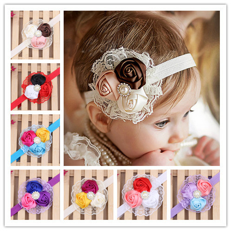 10 pieces/lot cute rose flower lace baby hair band newborn pearl headbands infant baby girls hair accessories products 10 colors(China (Mainland))