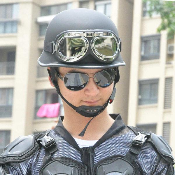 Fashion Men's Motorcycle Riding Retro Style Half Helmet With Pilot Goggles Black(China (Mainland))