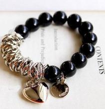 The second half price ! Vintage black pearl heart bracelet men jewelry bracelets & bangles   D022(China (Mainland))