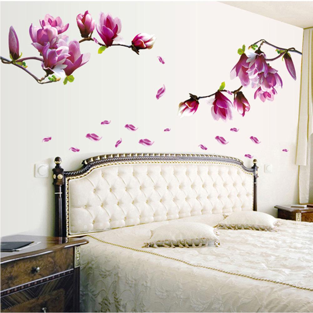 DIY Home Decoration Beautiful Mangnolia Flowers Removable Wall Art Decals Vinyl Sticker Wallpaper Mural Adesivo De Parede(China (Mainland))
