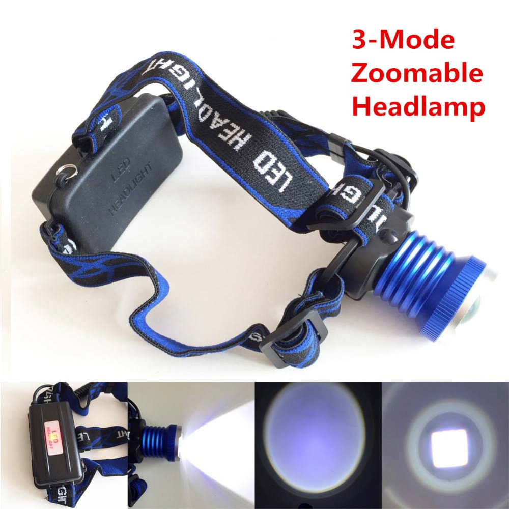 CREE XM-L XML T6 LED 2000 Lumens 3 Modes Adjustable Rechargeable LED Headlight / Headlamp CREE 18650 Blue +Car/Wall Charger<br><br>Aliexpress