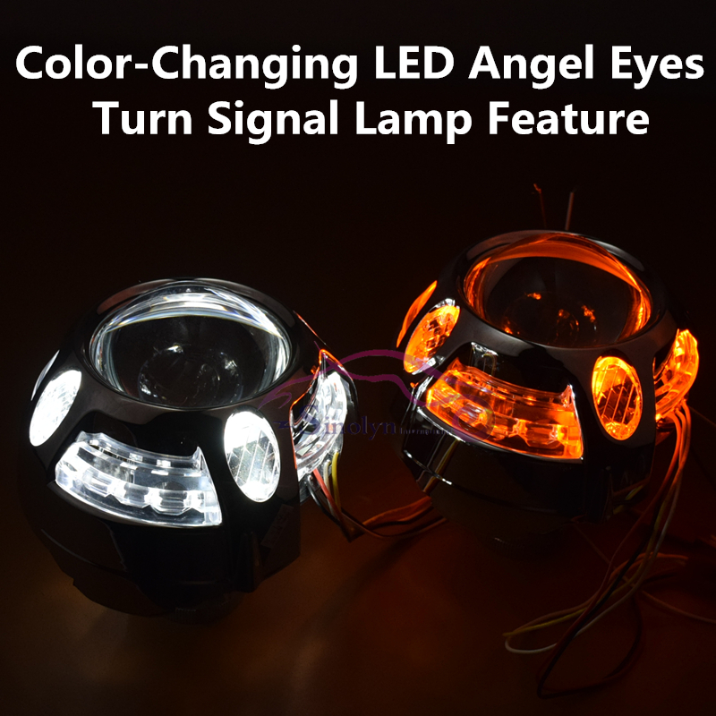 3.0 inch Q5 Metal D2S D2H HID Bixenon Projector Lens Headlight With LED DRL Angel Eyes Halo+Turn Signal lamp H4 Car Styling<br>