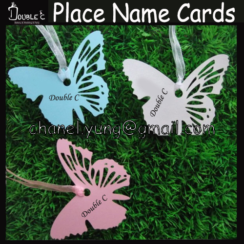 300pcs Laser Butterfly Name Place Card Cup Paper Card Table Mark Thanks Card Wish Card Wedding Favors Party Decoration(China (Mainland))