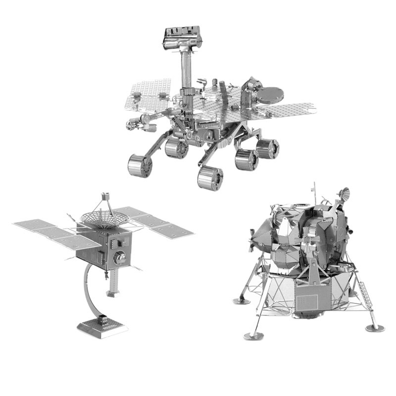 3D Puzzle Metal Spaceship Series Martian Rovers Artificial Satellite Lunar Module Stainless Steel Model DIY Jigsaw Toys(China (Mainland))