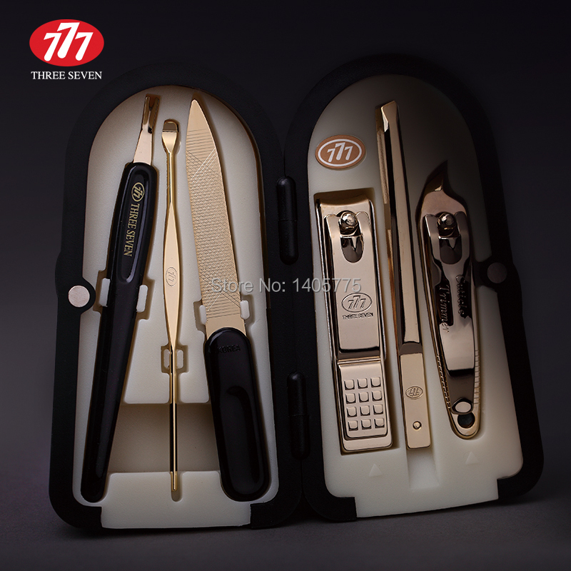 South Korea 777 THREE SEVEN Manicure Set Nail Clipper Nail Tools Best Gift for Friend and Family, Total 6 pcs, DS-4000ZG(China (Mainland))