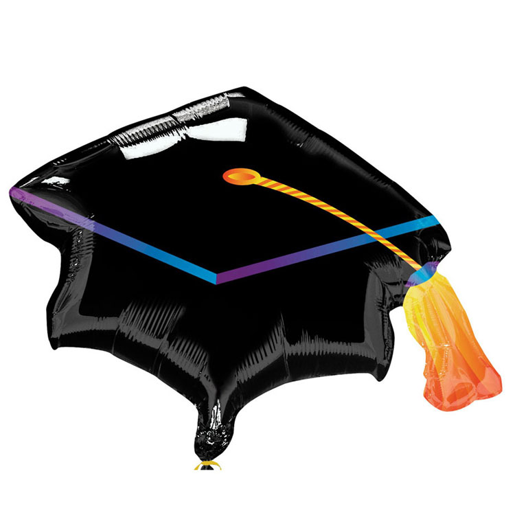 2pcs/lot America Imported Black Graduation Cap Foil Balloons Helium Inlfatable Anagram Grad Balloon Party Supplies Kid's toy.(China (Mainland))