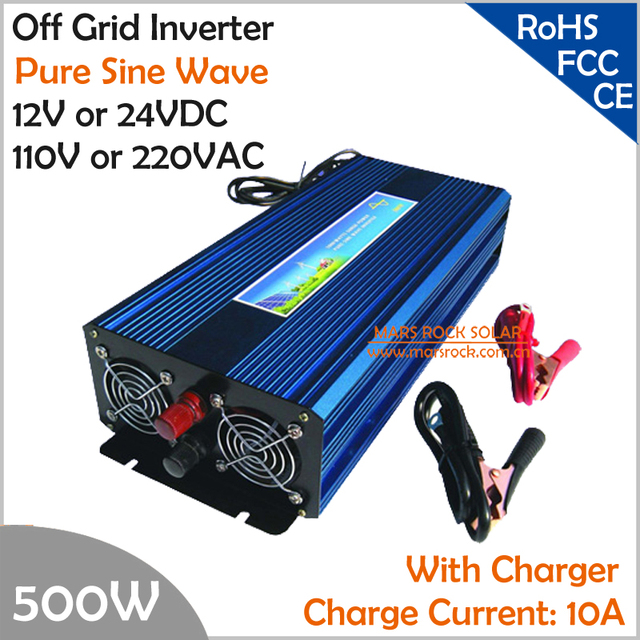 500W Off Grid Inverter with Charger, Surge Power 1000W DC12V/24V AC110V/220V Pure Sine Wave Inverter with charge function