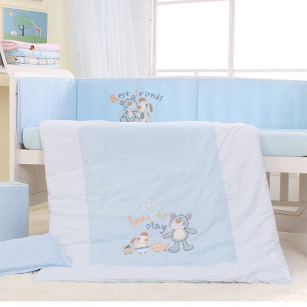 Blue 7Pcs Cotton Baby Cot Bedding Set Newborn Cartoon Bear Crib Bedding Detachable Pillow Bumpers Sheet Cot Bed Linen 2 Size(China (Mainland))