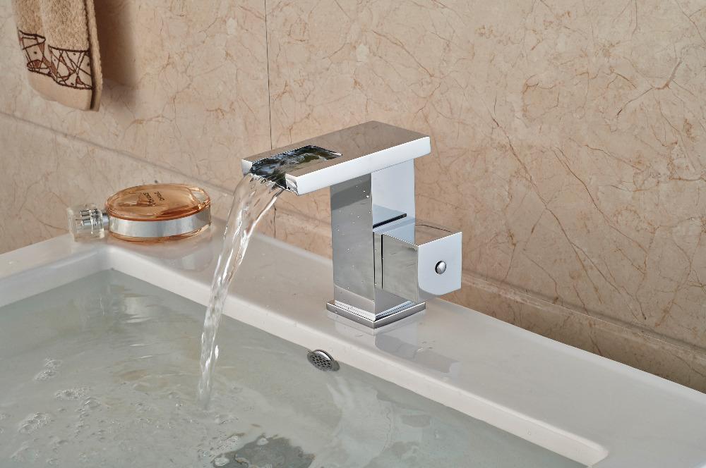 Фотография Slices Style LED Waterfall Chrome Bathroom Basin Faucet Square Handles Vanity Sink Mixer Tap