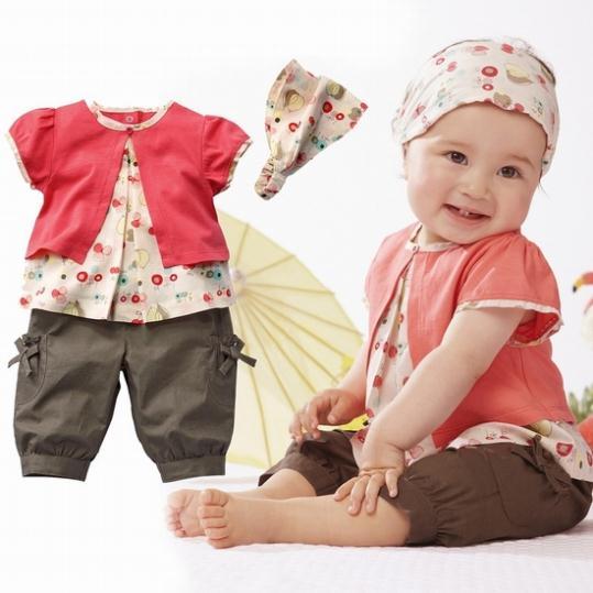 2014 New Hot Selling 100% Cotton Baby Girls Clothing Set 3pcs:headband+shirt+pant Princess Summer Clothes Three Pieces(China (Mainland))