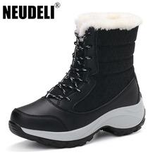 NEUDELI 2016 Nueva Alta Calidad Del Invierno de las mujeres botas de piel Gruesa muy señoras calientes de la nieve botas con cordones botas de mujer de invierno zapatos(China (Mainland))