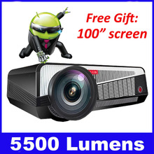5500 lumens Android TV Wifi 1080p projector home cinema overhead multimedia projector dvd mobile proector holographic hologram data show home audio ...
