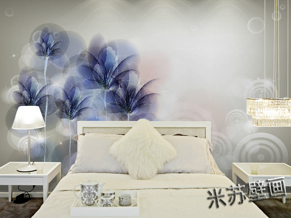 Free shipping eco friendy 3d mural simple blue flower for Mural 3d simple