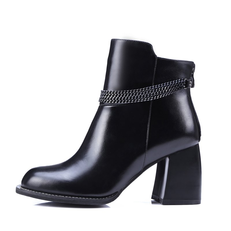 Chains design fashion martin boots genuine leather women boots 2017 new high heel women's shoes motorcycle boots mujer botas(China (Mainland))
