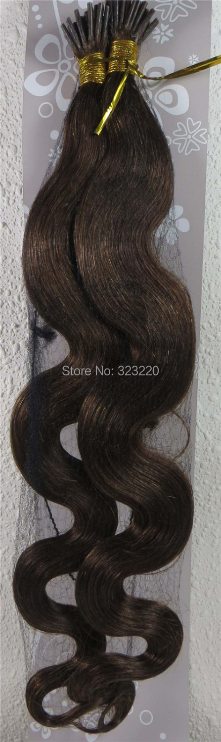 Wholesale Virgin Brazilian 22 Womens Human Hair Remy I-Tip In Extensions Body Wavy 1g/s 100strands Medium Brown #6<br><br>Aliexpress