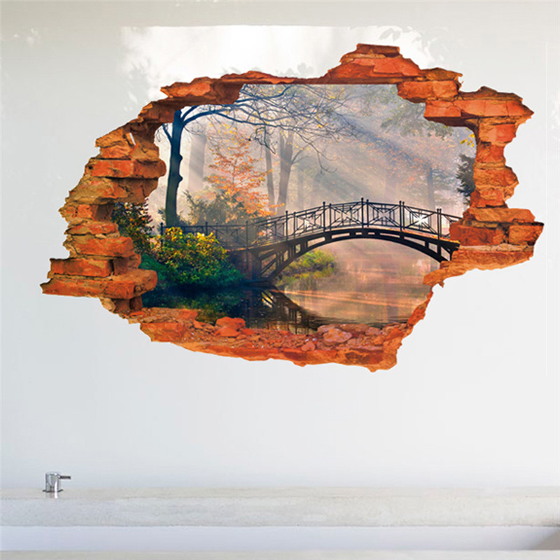 3D Vintage bridge forest landscape wall sticker window view wall decals living room office study poster(China (Mainland))