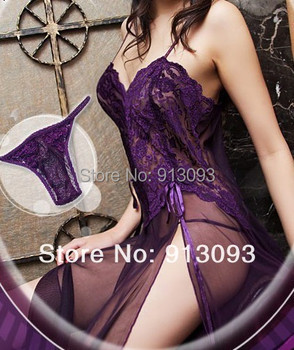 Purple/Sky Blue/Wine Sexy Lingerie Style Ladies Robes Night Gown Nightwear Sexy Underwear Long Dress   T688