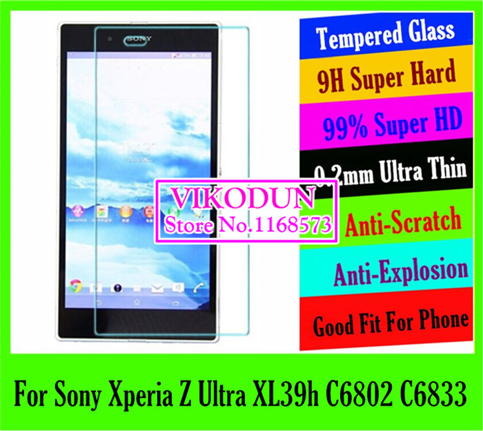 projector top quality 9H 0.2mm tempered glass Screen Protector For Sony Xperia Z Ultra XL39h C6802 C6833 mobile LCD film phone(China (Mainland))