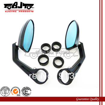RM-022-BK-BL Black CNC Aluminum Motorcycle Bar End Mirrors For Honda Cruiser Sport Racer KTM