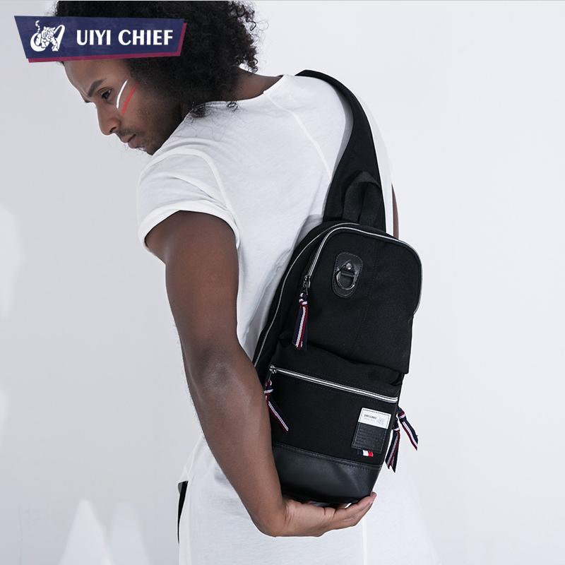 UIYI Black Men Messenger Bag Polyester + Microfiber Leather Chest Pack Outdoor Shoulder Bag Casual Men Sport Travel Bag(China (Mainland))