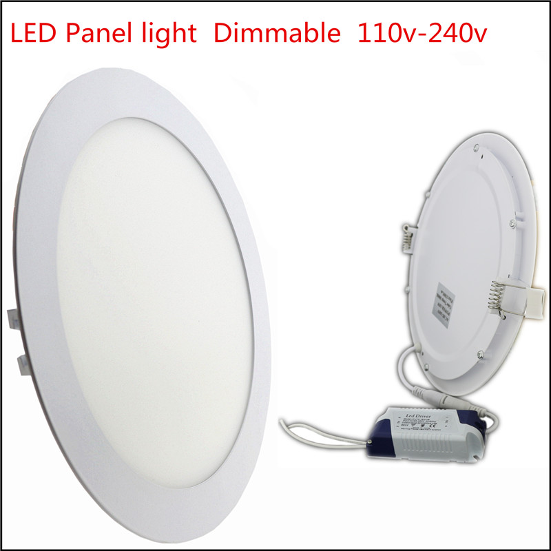 1X Ultra Thin Led Panel light 3w 4w 6w 9w 12w 15w 18w 24w Round LED Ceiling Recessed Light Dimmable AC110-240V LED Panel bulb(China (Mainland))