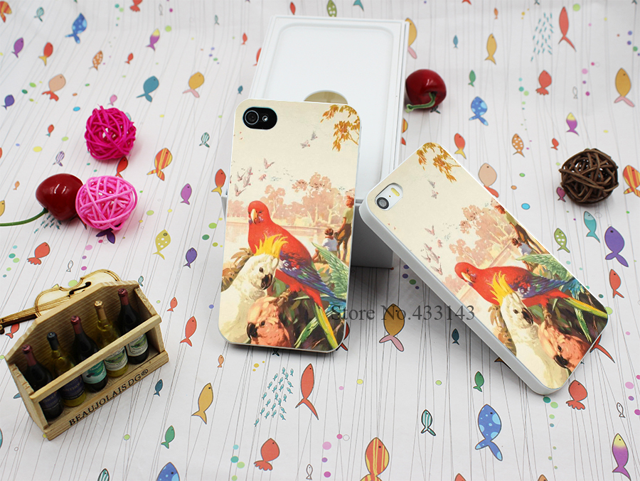 Hard White Case Cover for iPhone 4 4s RAINBOW PARROT AUSSIE AUSTRALIA Style(China (Mainland))