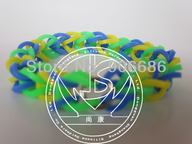 2013new luminous DIY silicone rubber bands,fluorescence double color silicone rubber bands,produce customized,free shipping(China (Mainland))