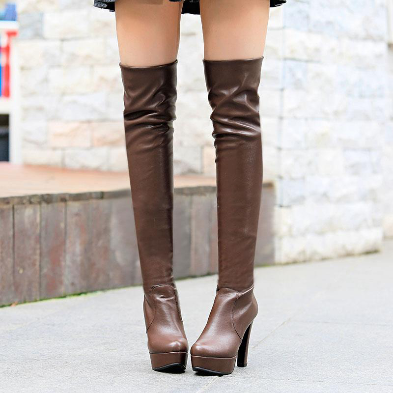 2016 fashion brand hot sale over the knee designer thick high heel long boots shoes platform closed round toe Spring boots women