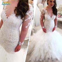 Buy Vestido De Noiva Lace Wedding Dresses 2017 Sexy V neck Long Sleeves Button Sweep Train Applique 2017 Mermaid Wedding Gowns Dress for $222.27 in AliExpress store