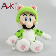 Новое Прибытие Super Mario 3D world Super Mario Bros Зеленый Кот луиджи Плюшевые Игрушки Куклы С Тегом 19 см для детей милый подарок(China (Mainland))