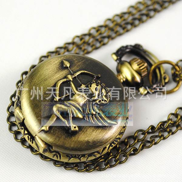 2015 New Arrival Sale Unisex European Fashion Trade Jewelry Popular Retro Female Cupid Stereo Small Pocket Watches Necklace(China (Mainland))
