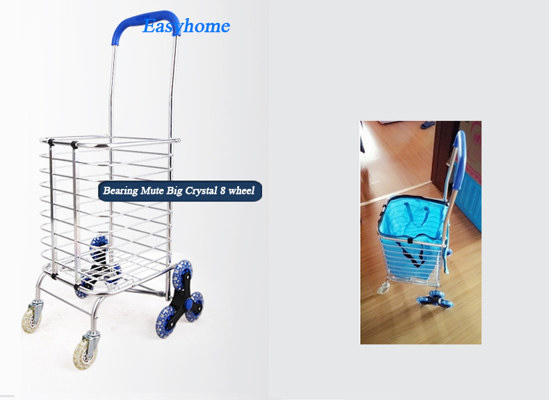 Free Shipping,popular Shopping cart & free fabric,hot Aluminium trolley,8 wheels mute push trailer,climb stairs folding trolley(China (Mainland))