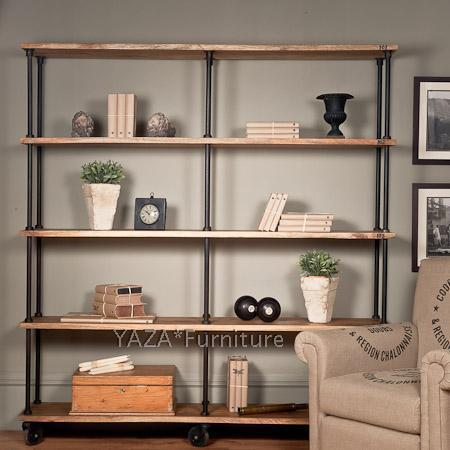 retro industrial style wood bookcase shelves shelving