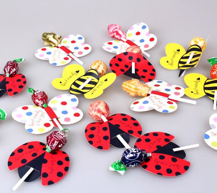 50Pcs/Lot Bee/Butterfly/Ladybug Printed Lollipop Decorative Card Candy Stick Decorative Card(China (Mainland))