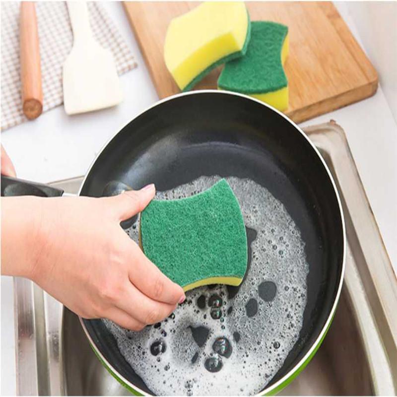 5pcs Two side effect sponge scouring pad kitchen dish washing sponge scourer, designer promotional cellulose cleaning sponge(China (Mainland))